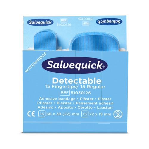 Bild von Salvequick Pflastermix blau detektierbar, 15 St. 66 x 39 (22) mm, 15 St. 72 x 19 mm